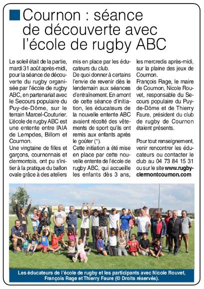 Read more about the article Presse : Séance de découverte avec l'école de rugby ABC par Clermont Infos 63